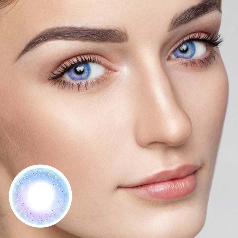 Rainbow Neon Blue (12 Month) Contact Lenses - StunningLens