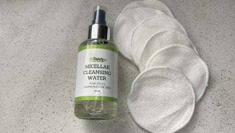 Micellar water and cotton facial pads