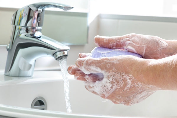 Using bar soap to wash hands