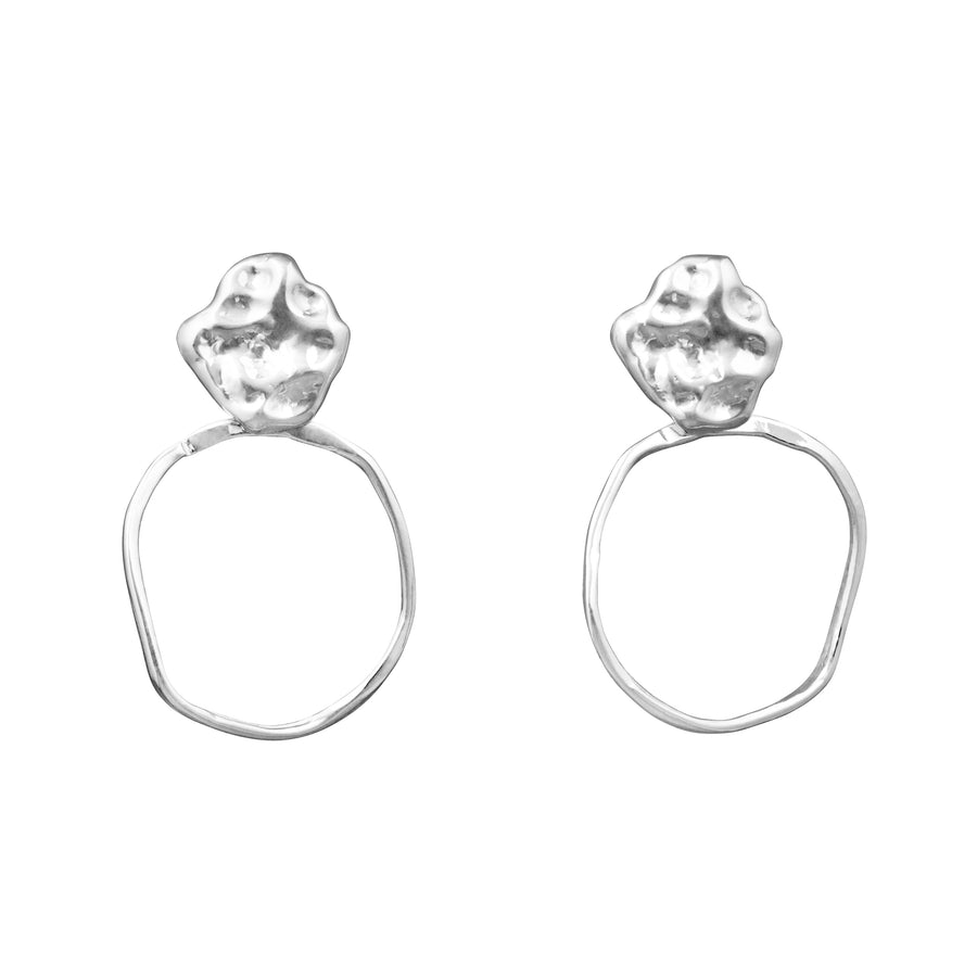 Bubble gum drop earrings silver