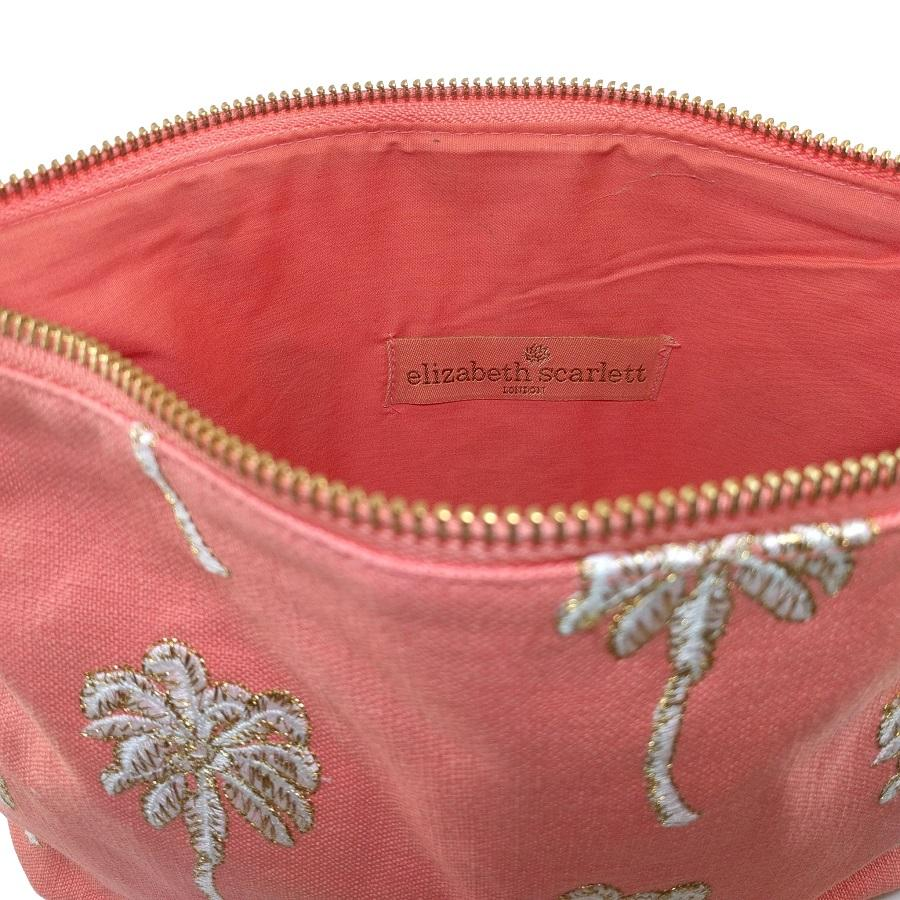 Soft canvas travel pouch with embroidered Palmier or palm tree pattern in coral colour - internal view