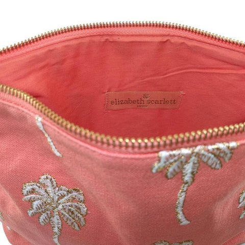 Image of Soft canvas travel pouch with embroidered Palmier or palm tree pattern in coral colour - internal view