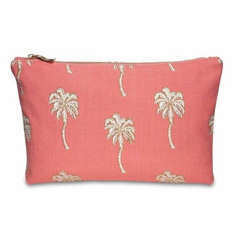 Image of Soft canvas travel pouch with embroidered Palmier or palm tree pattern in coral colour