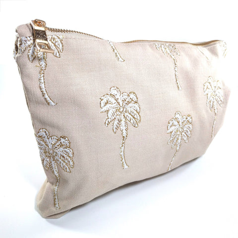 Soft canvas travel pouch with embroidered Palmier or palm tree pattern in taupe colour