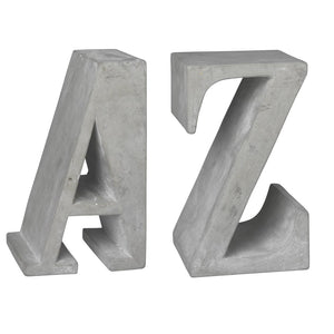 Concrete Bookends - A & Z