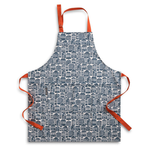 Apron for cooking or baking in bold About Town print