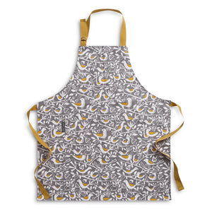 Apron for cooking or baking in bold Grey Doves print