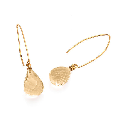 Image of Arabella wishbone drop earrings with teardrop champagne quartz gemstone