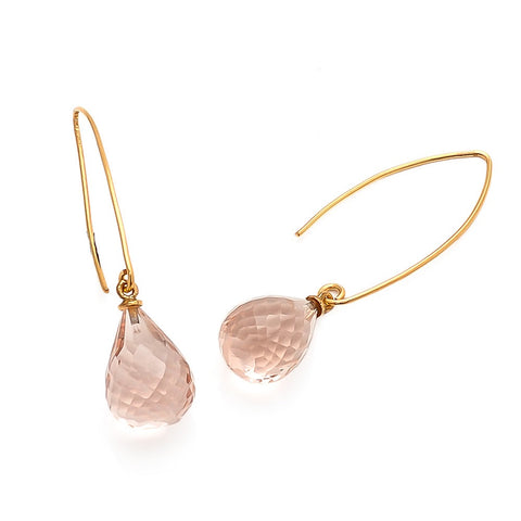 Arabella wishbone drop earrings with teardrop pink quartz gemstone