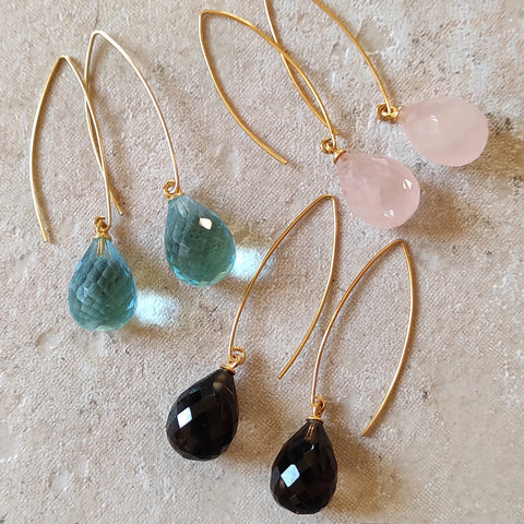 Image of Arabella wishbone drop earrings with teardrop quartz gemstones