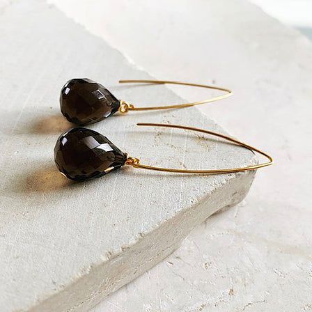 Image of Arabella wishbone drop earrings with teardrop smokey quartz gemstone