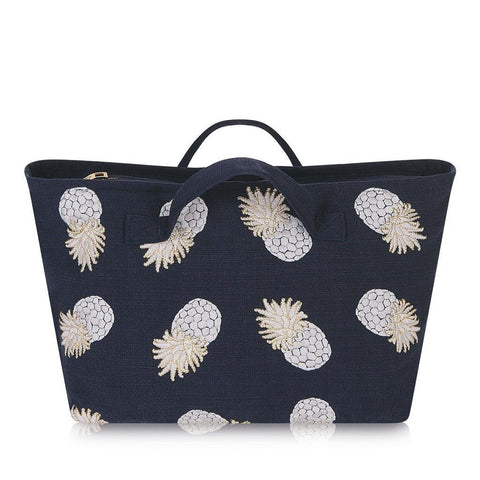 Soft canvas travel bag in indigo Ananas pineapple pattern