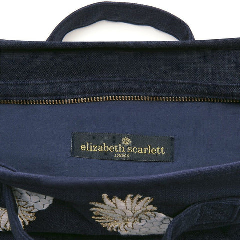 Soft canvas travel bag in indigo Ananas pineapple pattern - internal view