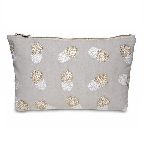 Image of Soft canvas travel pouch in cloud Ananas pineapple pattern