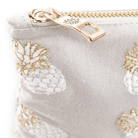 Image of Soft canvas travel pouch in cloud Ananas pineapple pattern - corner detail