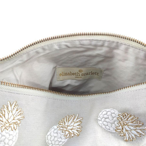 Image of Soft canvas travel pouch in cloud Ananas pineapple pattern - internal view