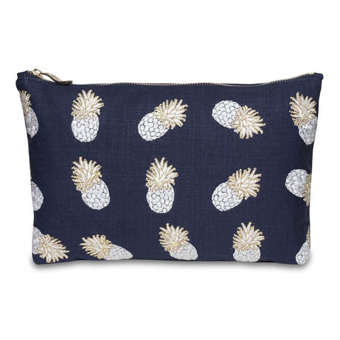 Soft canvas travel pouch in indigo Ananas pineapple pattern