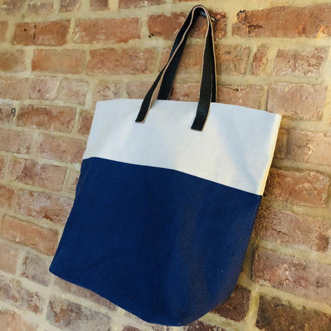 Bright handmade canvas shopper bag in pale blue & lapis with comfortable leather handle - hanging