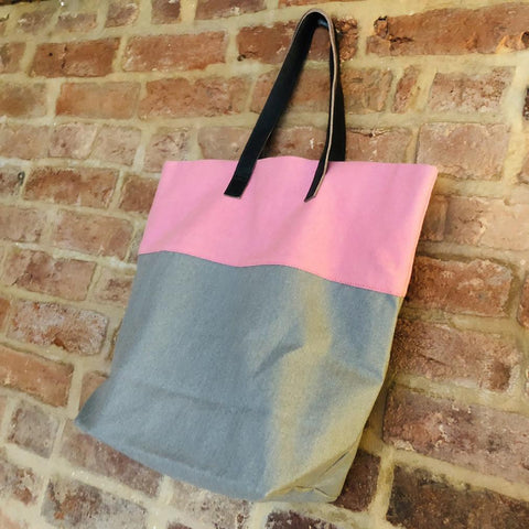 Bright handmade canvas shopper bag in dusky pink & grey with comfortable leather handle - hanging