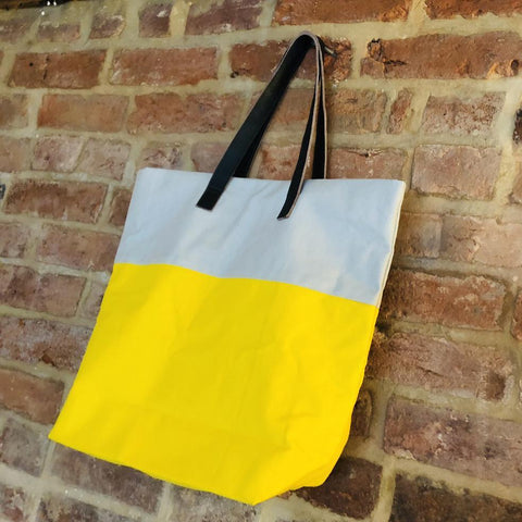 Bright handmade canvas shopper bag in yellow & mushroom with comfortable leather handle - hanging