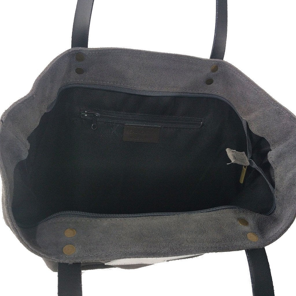 Italian suede leather tote bag with shiny metallic leather star in grey with double leather straps - internal view