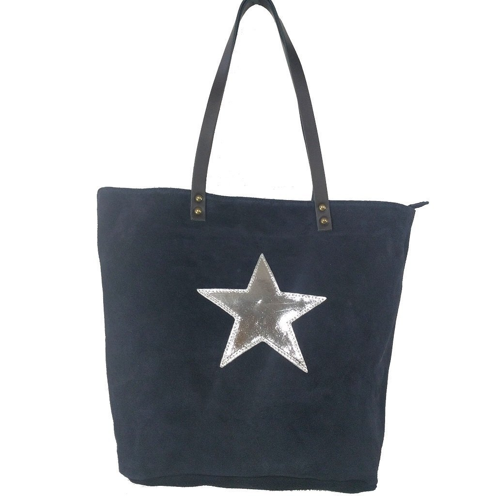 Italian suede leather tote bag with shiny metallic leather star in navy with double leather straps