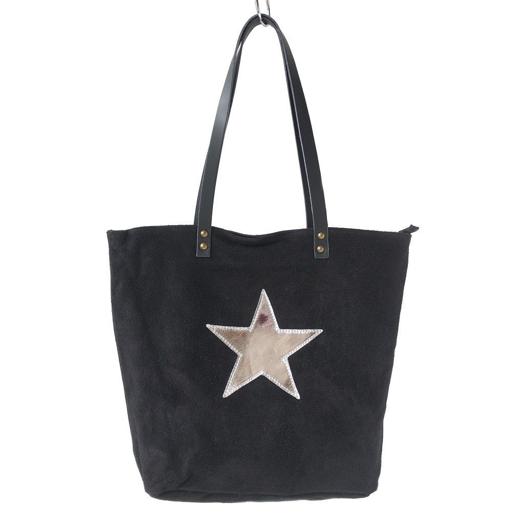Italian suede leather tote bag with shiny metallic leather star in black with double leather straps