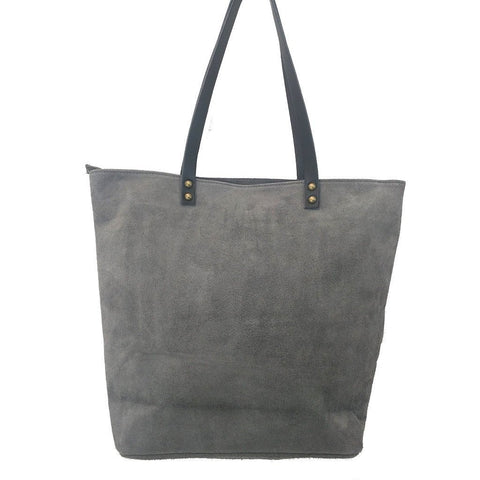 Italian suede leather tote bag with shiny metallic leather star in grey with double leather straps - rear view