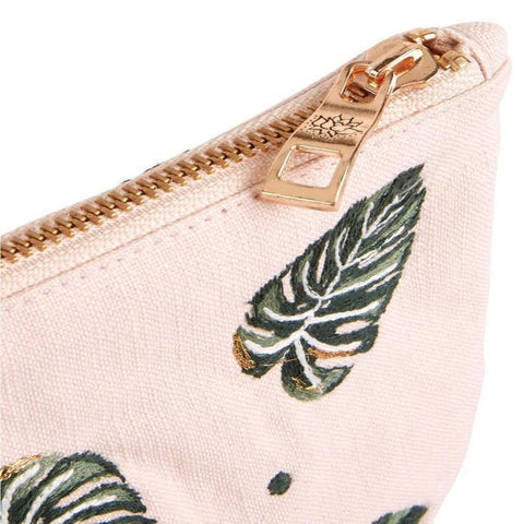 Soft canvas travel pouch in Jungle Leaf pattern in rose pink colour - corner detail