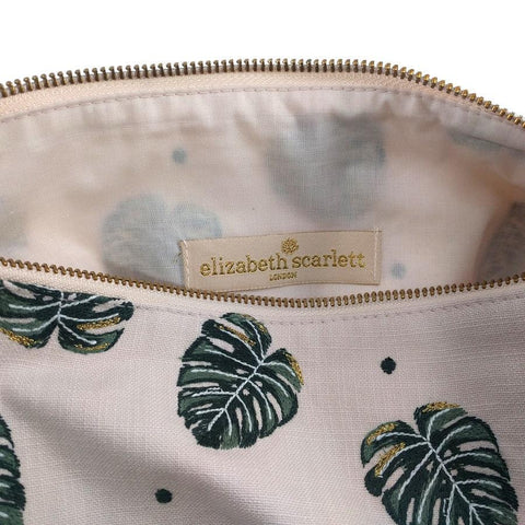 Soft canvas travel pouch in Jungle Leaf pattern in rose pink colour - internal view