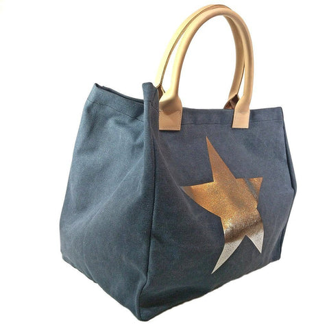 Italian strong canvas carryall bag with star and genuine leather handles in navy