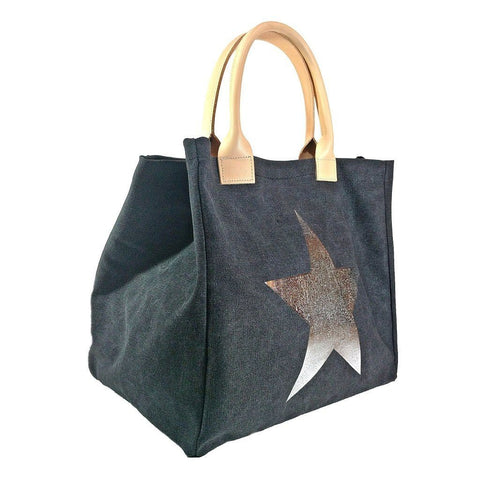 Italian strong canvas carryall bag with star and genuine leather handles in black
