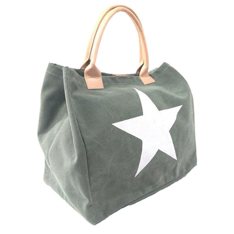 Italian strong canvas carryall bag with star and genuine leather handles in green