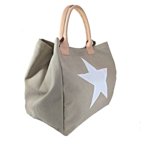 Italian strong canvas carryall bag with star and genuine leather handles in beige
