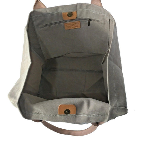 Italian strong canvas carryall bag with star and genuine leather handles in beige - internal view