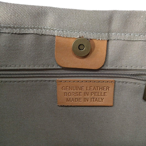 Italian strong canvas carryall bag with star and genuine leather handles in beige - label view