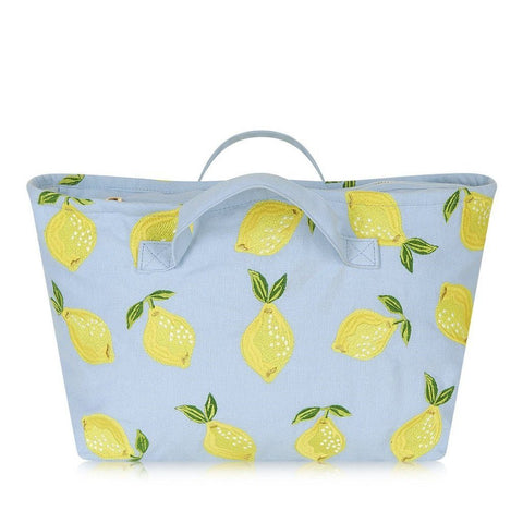 Soft canvas travel bag with Lemon pattern in chambray or baby blue colour