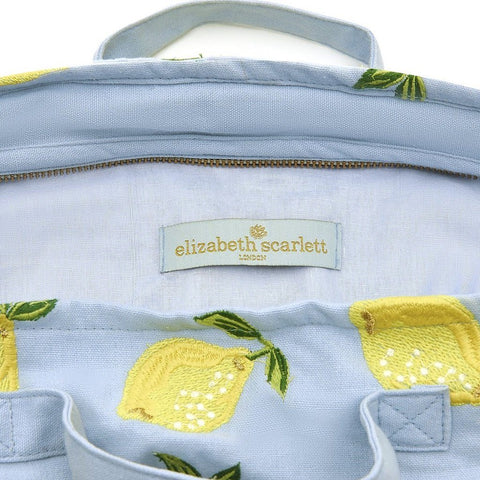 Image of Soft canvas travel bag with Lemon pattern in chambray or baby blue colour - internal view