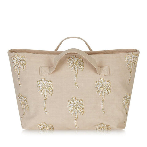 Soft canvas travel bag with embroidered Palmier or palm tree pattern in taupe