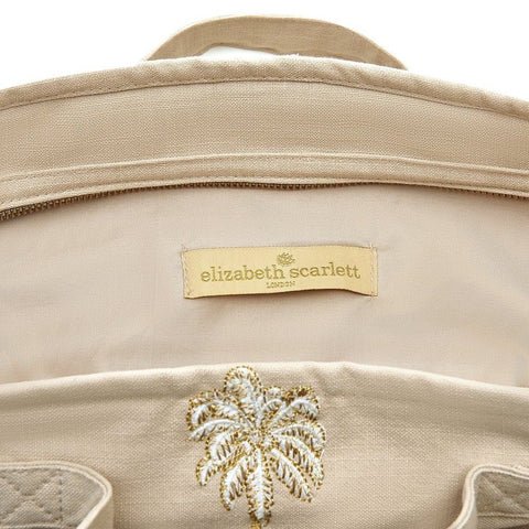 Soft canvas travel bag with embroidered Palmier or palm tree pattern in taupe - internal view