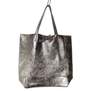 Spacious genuine Italian leather shopper bag with metallic bronze finish