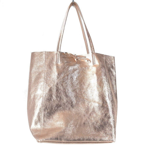 Spacious genuine Italian leather shopper bag with metallic rose gold finish