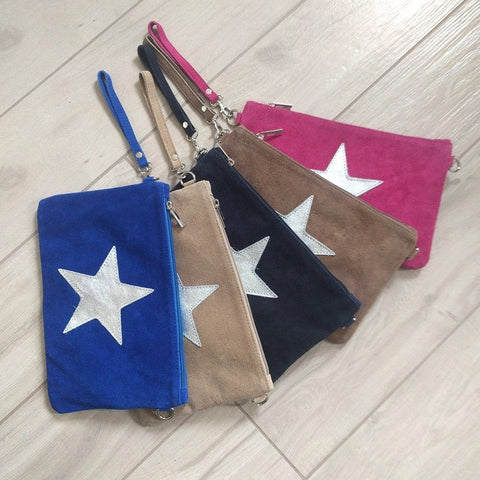 Image of Italian suede leather clutch bags with shiny metallic leather stars in a selection of colours