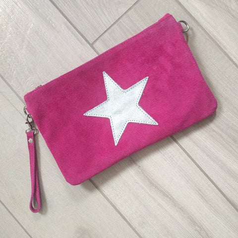 Italian suede leather clutch bag with shiny metallic leather star in magenta