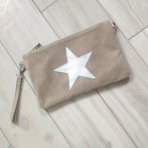 Image of Italian suede leather clutch bag with shiny metallic leather star in beige