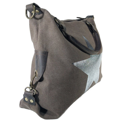 Vintage look canvas and genuine leather bag with shiny metallic star in dark brown with handles and a detachable long strap