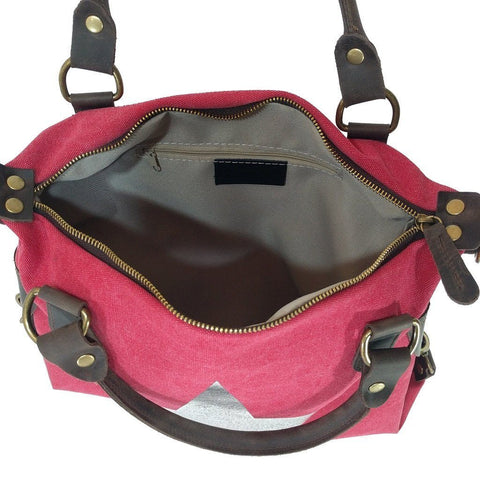 Vintage look canvas and genuine leather bag with shiny metallic star in fuchsia - internal view