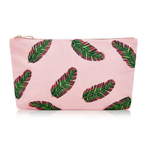 Soft canvas travel pouch in pink rose Tropical Banana Leaf pattern
