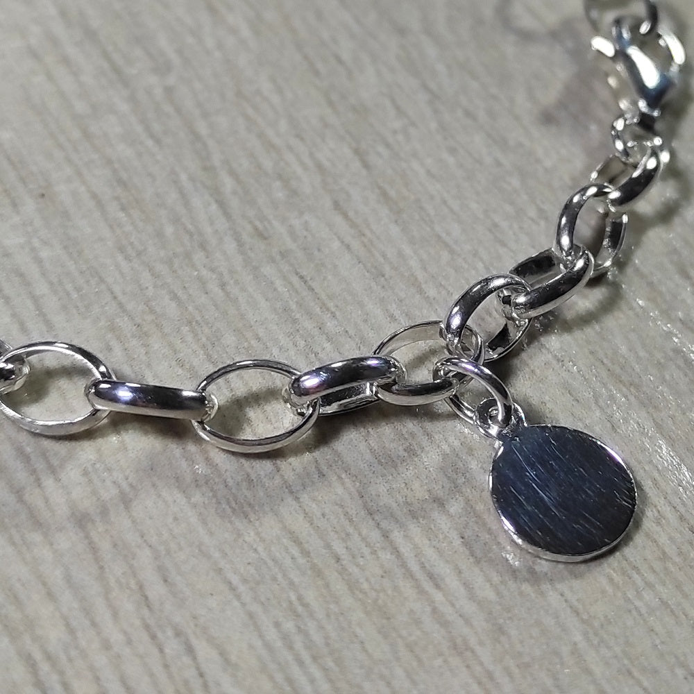 Sterling Silver Belcher Bracelet With Silver Disc