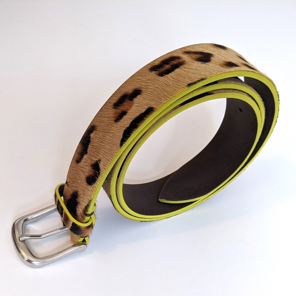 Roxanne Belt in Leopard Print & Yellow Edge